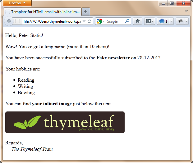 Sending email in Spring with Thymeleaf - Thymeleaf
